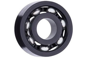 xiros® radial deep groove ball bearing, xirodur S180, glass balls, cage made of PA, mm, black for visible parts